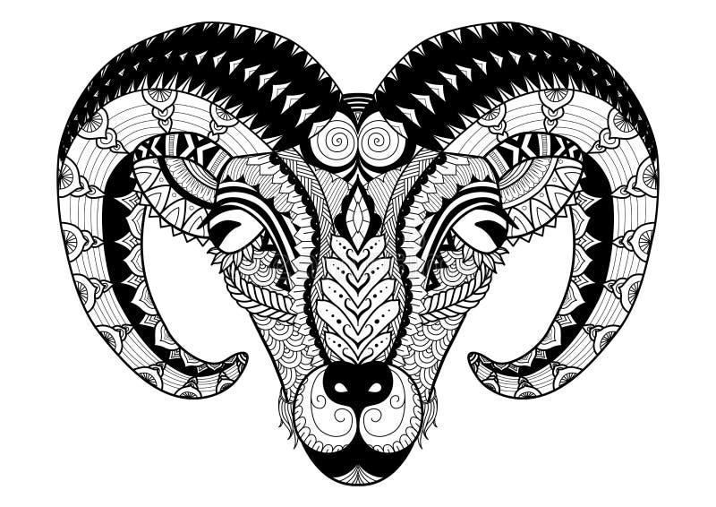 La línea diseño para el libro de colorear, diseño de la camiseta, diseño de las ovejas del cuerno del arte del bolso, tatúa y así stock de ilustración