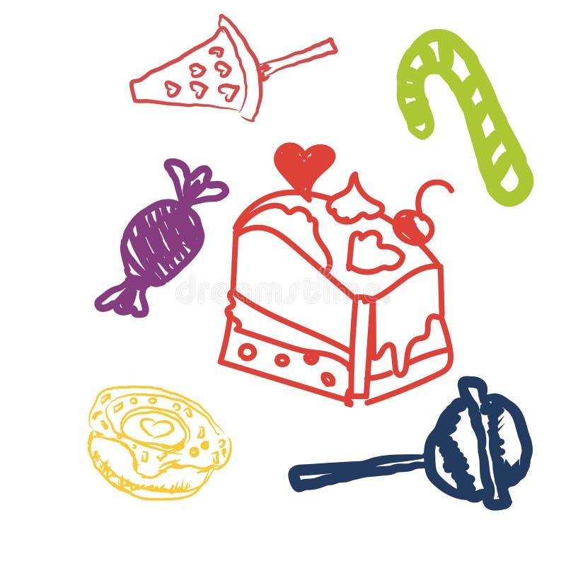 La línea dulce iconos de los caramelos fijados en la forma del círculo con las piruletas coloridas clasificadas de los chocolates libre illustration
