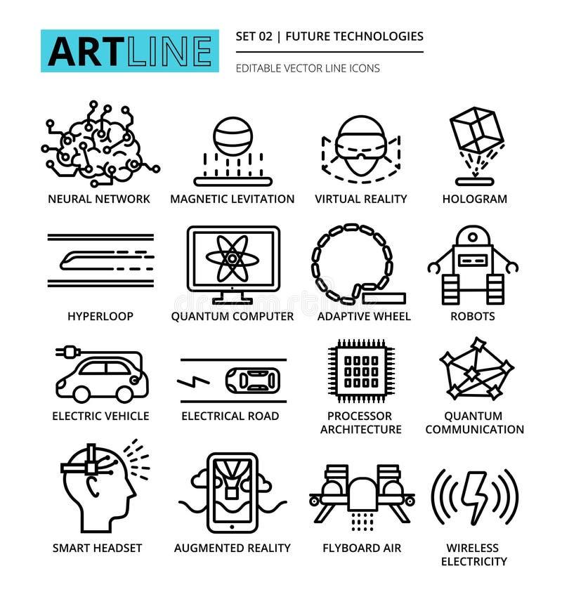 La línea editable moderna iconos del vector fijó de las tecnologías futuras ilustración del vector