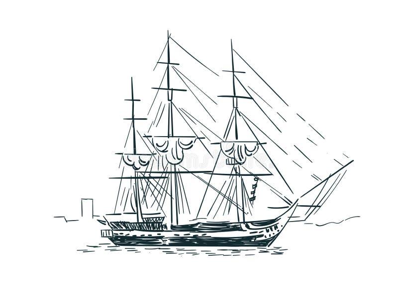 La línea ejemplo del bosquejo del vector de la nave del arte aisló libre illustration