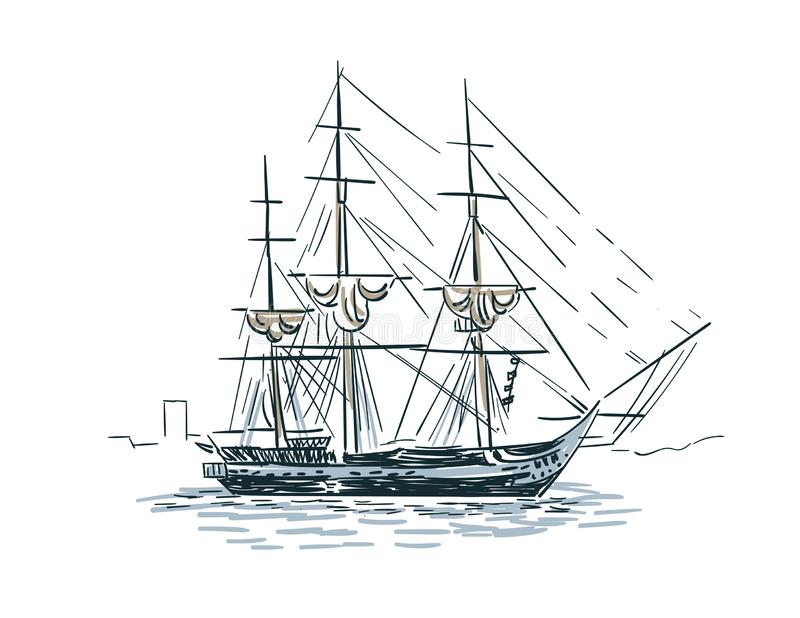La línea ejemplo del bosquejo del vector de la nave del arte aisló ilustración del vector
