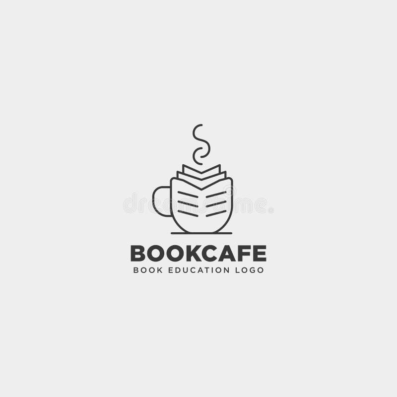 la línea elemento simple de la educación del café de la taza del libro del icono del ejemplo del vector de la plantilla del logot stock de ilustración