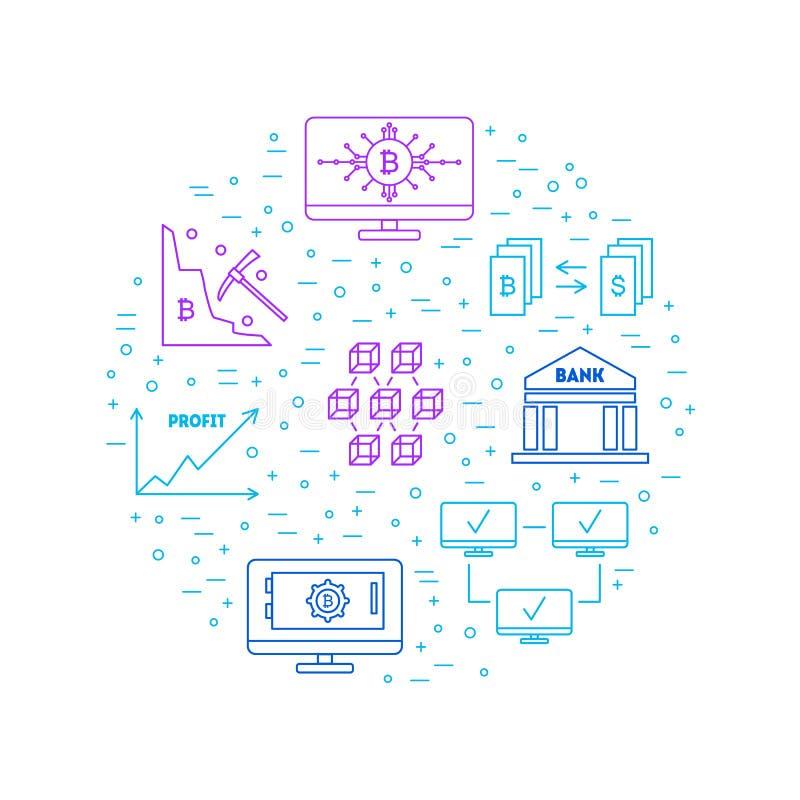 La línea fina color de Blockchain firma alrededor de plantilla del diseño Vector libre illustration