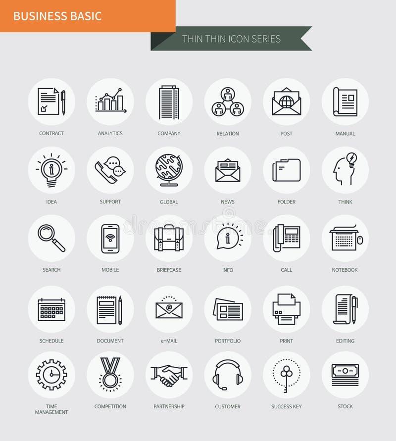 La línea fina fina iconos fijó de estilo simple básico de negocio, moderno libre illustration