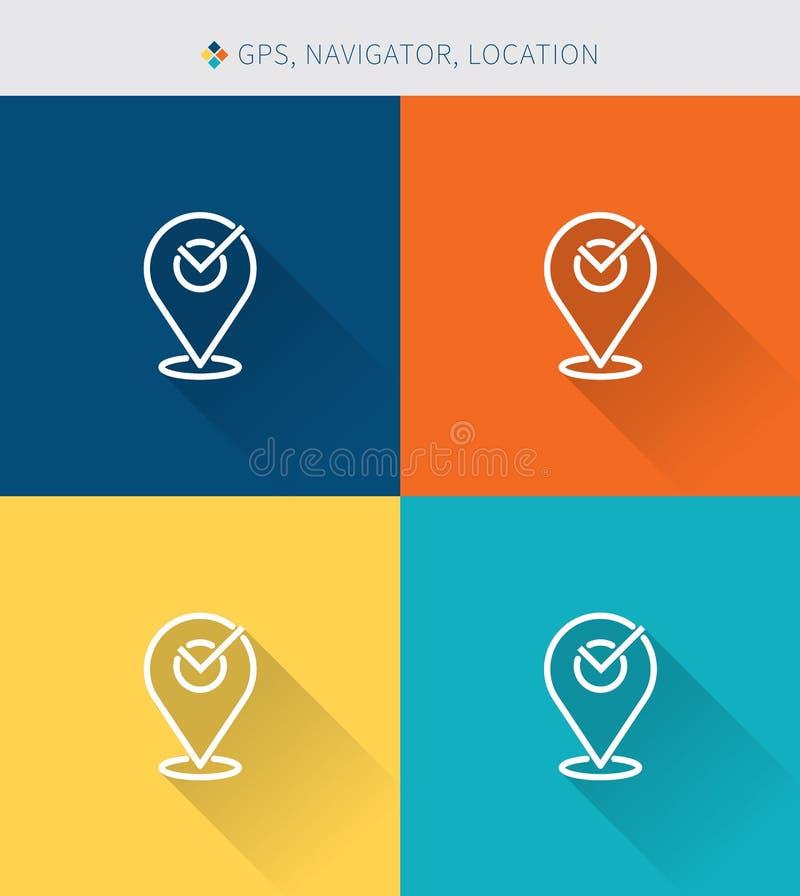 La línea fina fina iconos fijó de la ubicación de los gps del navegador, estilo simple moderno libre illustration