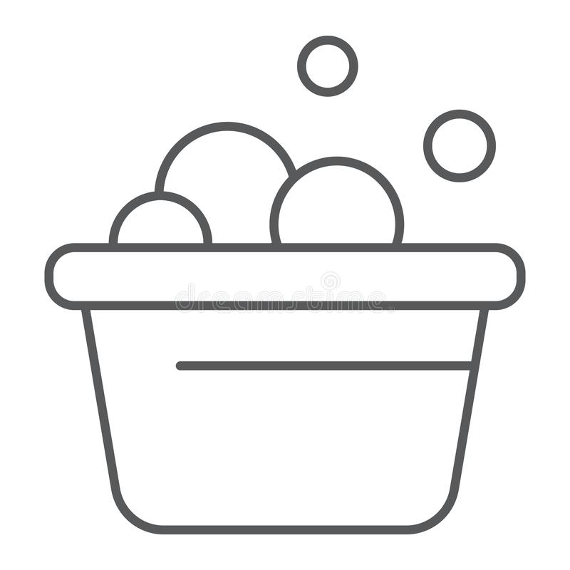 La línea fina icono del cubo del lavadero, limpia y se lava, lavabo con la muestra de la espuma, gráficos de vector, un modelo li stock de ilustración