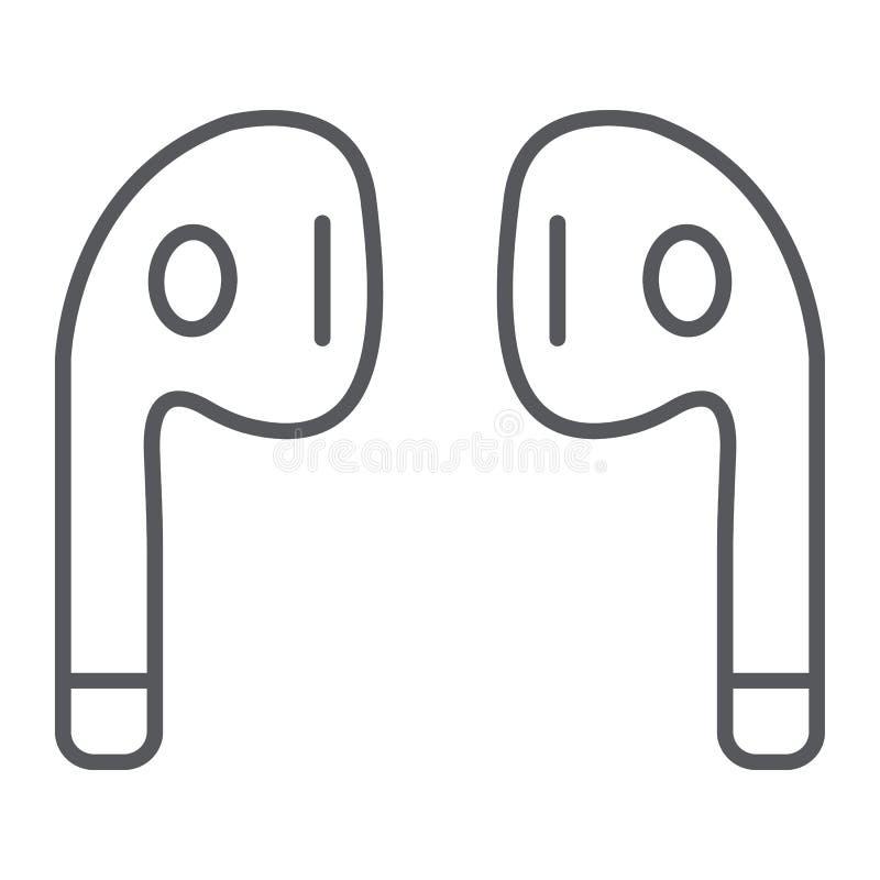 La línea fina icono, música y sonido de los auriculares de Bluetooth, los auriculares inalámbricos firma, los gráficos de vector, libre illustration