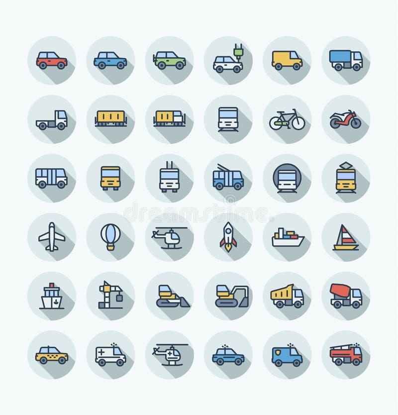 La línea fina iconos del color plano del vector fijó con el transporte público, símbolos del esquema de los coches stock de ilustración