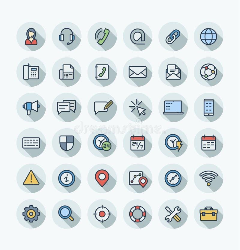 La línea fina iconos del color plano del vector nos fijó con el contacto, símbolos del esquema del servicio de soporte técnico libre illustration