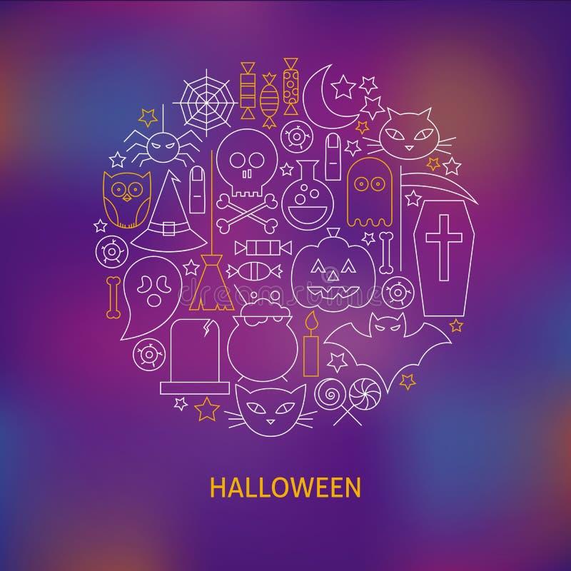 La línea fina iconos del día de fiesta de Halloween fijó concepto formado círculo ilustración del vector