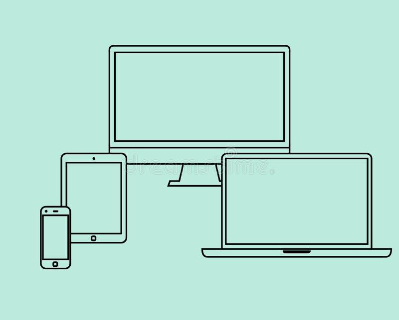 La línea fina iconos del diseño plano fijó objetos electrónicos libre illustration