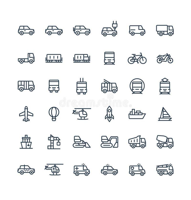 La línea fina iconos del vector fijó con el transporte público, símbolos del esquema de los coches ilustración del vector