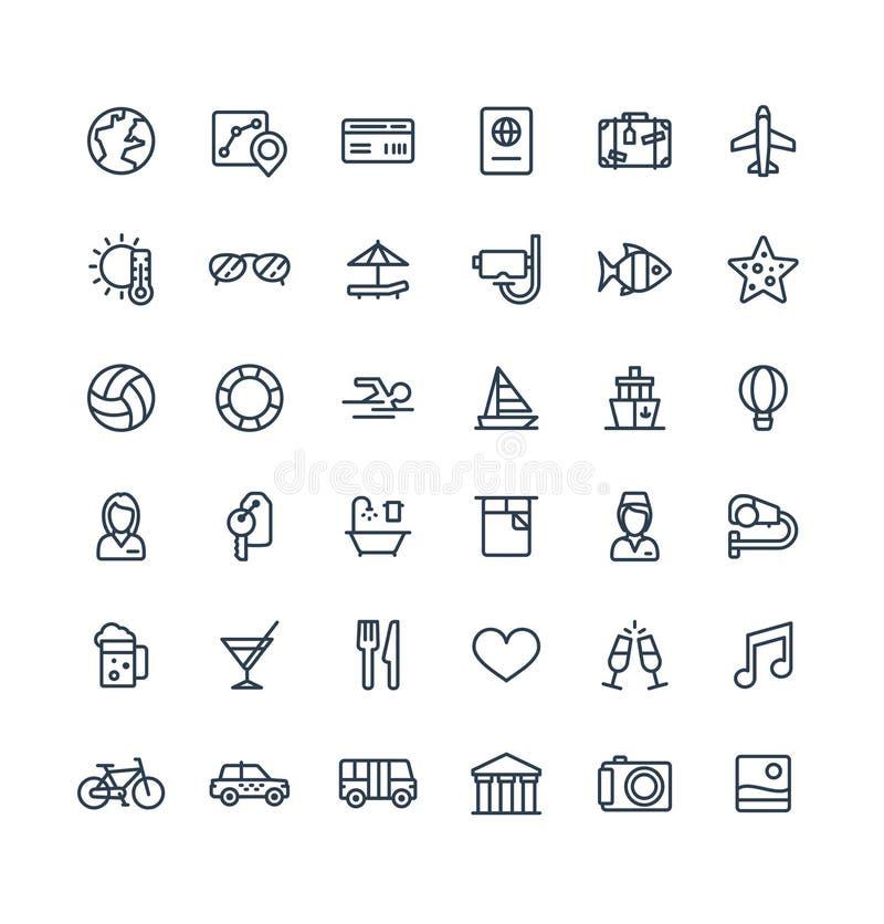 La línea fina iconos del vector fijó con el viaje, símbolos del esquema del turismo Vacaciones de verano, servicio de la habitaci ilustración del vector