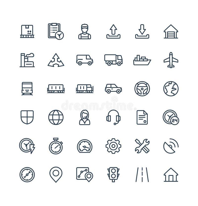 La línea fina iconos del vector fijó con logístico, negocio de la entrega, símbolos del esquema de la distribución libre illustration