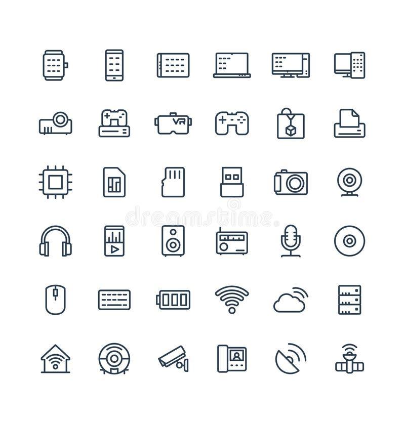 La línea fina iconos del vector fijó con símbolos digitales y de la tecnología inalámbrica del esquema stock de ilustración