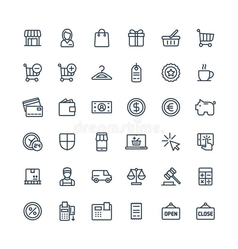 La línea fina iconos del vector fijó con símbolos del esquema de las compras y del comercio electrónico ilustración del vector