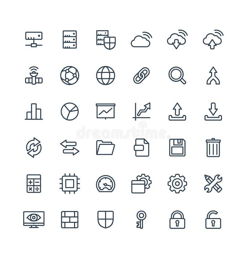 La línea fina iconos del vector fijó con símbolos grandes del esquema de la tecnología de los datos y del analytics stock de ilustración