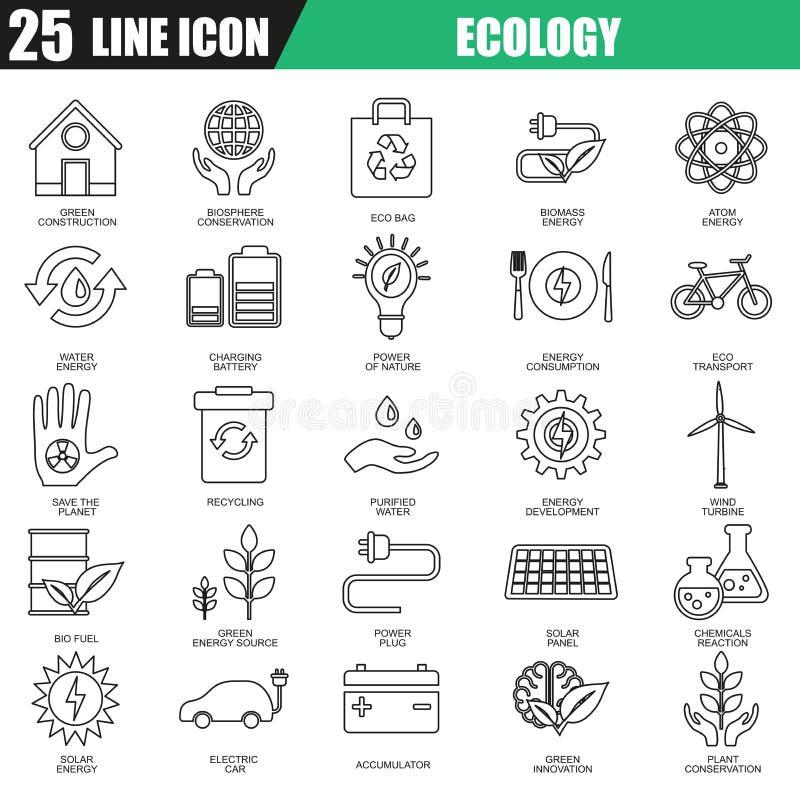 La línea fina iconos fijó de la fuente de energía ecológica, seguridad ambiental ilustración del vector