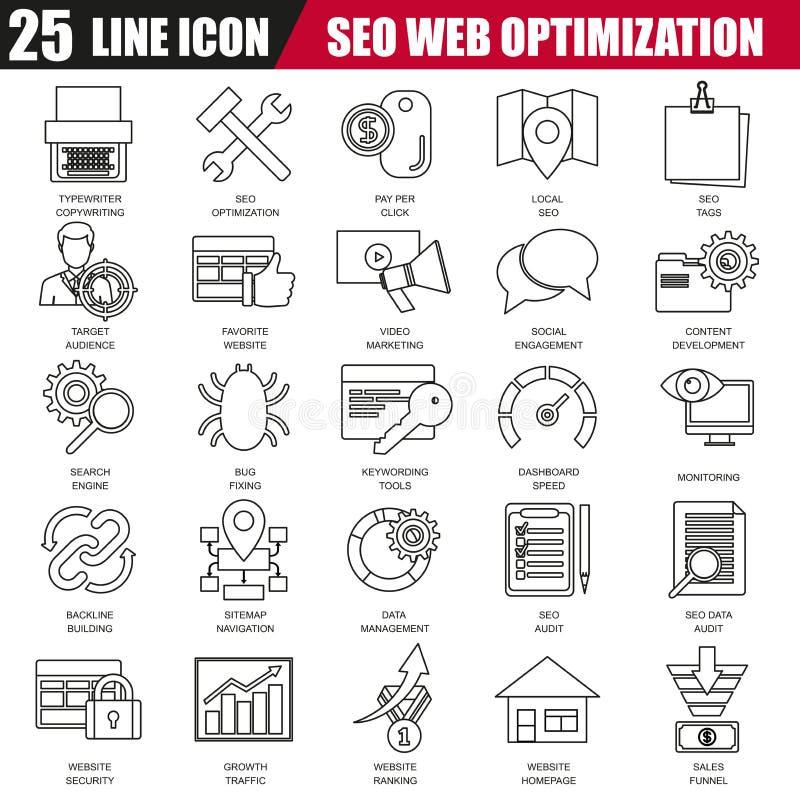 La línea fina iconos fijó de las herramientas de optimización del Search Engine para el tráfico del crecimiento ilustración del vector