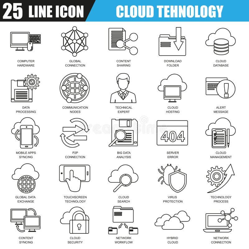 La línea fina iconos fijó de los servicios de la tecnología de los datos de la nube, conexión global ilustración del vector
