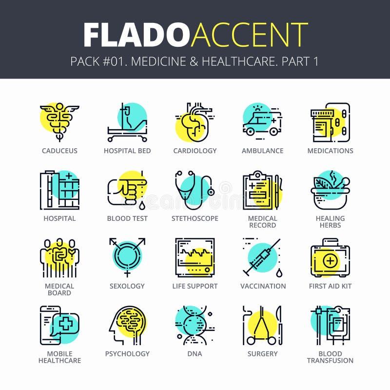 La línea fina iconos fijó de medicina y de atención sanitaria Diseño plano moderno del esquema Colección superior del pictograma  libre illustration