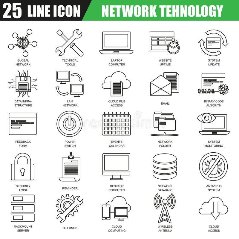 La línea fina iconos fijó de servicios computacionales de la tecnología de red de datos de la nube ilustración del vector