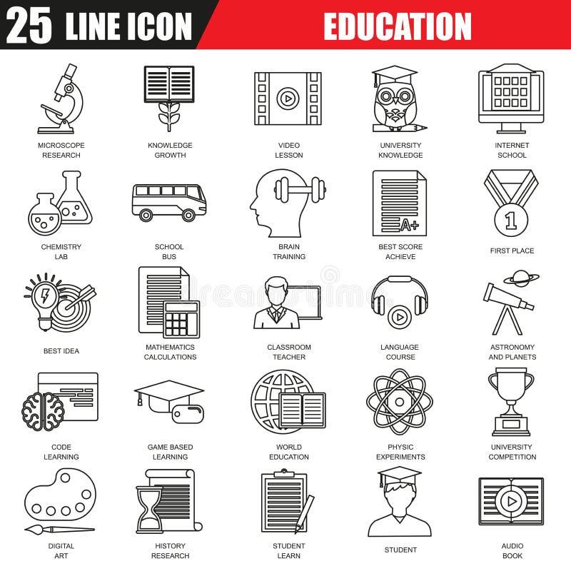 La línea fina iconos fijados de la educación de Internet y el curso en línea estudian libre illustration