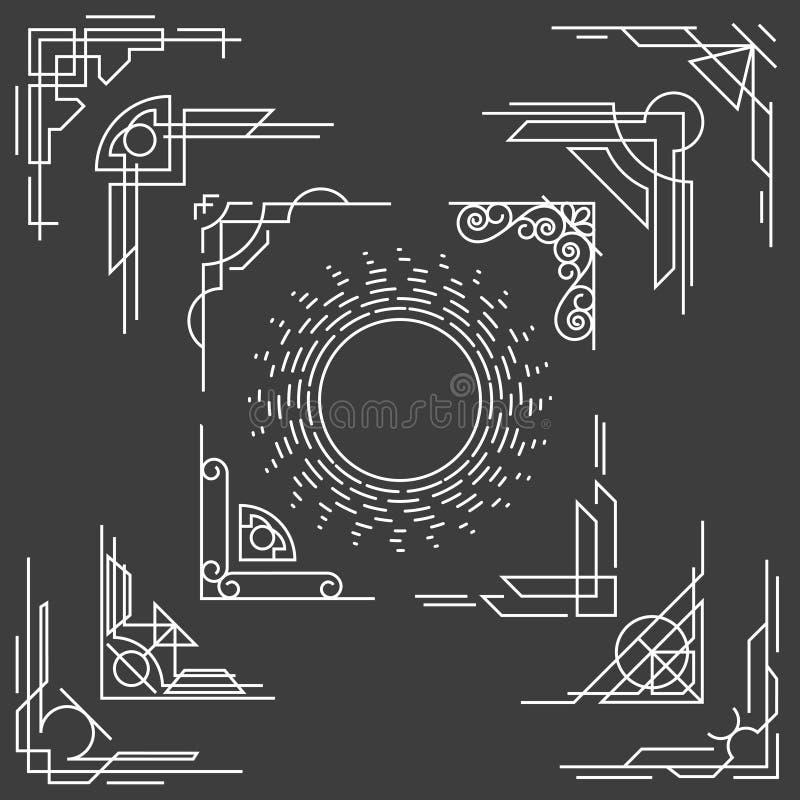La línea fina linear marco del diseño arrincona vector stock de ilustración