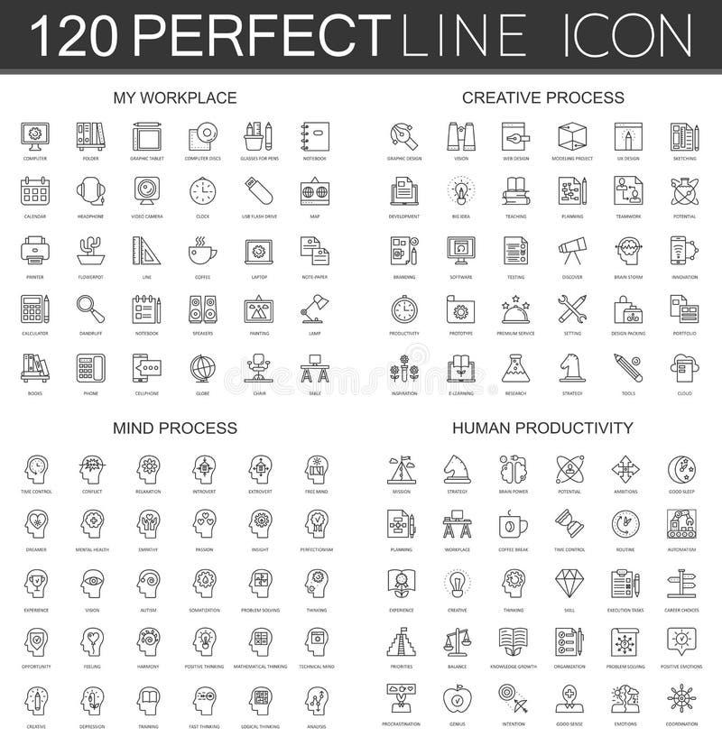 120 la línea fina moderna iconos fijó de mi lugar de trabajo, proceso creativo, proceso de la mente, productividad humana stock de ilustración