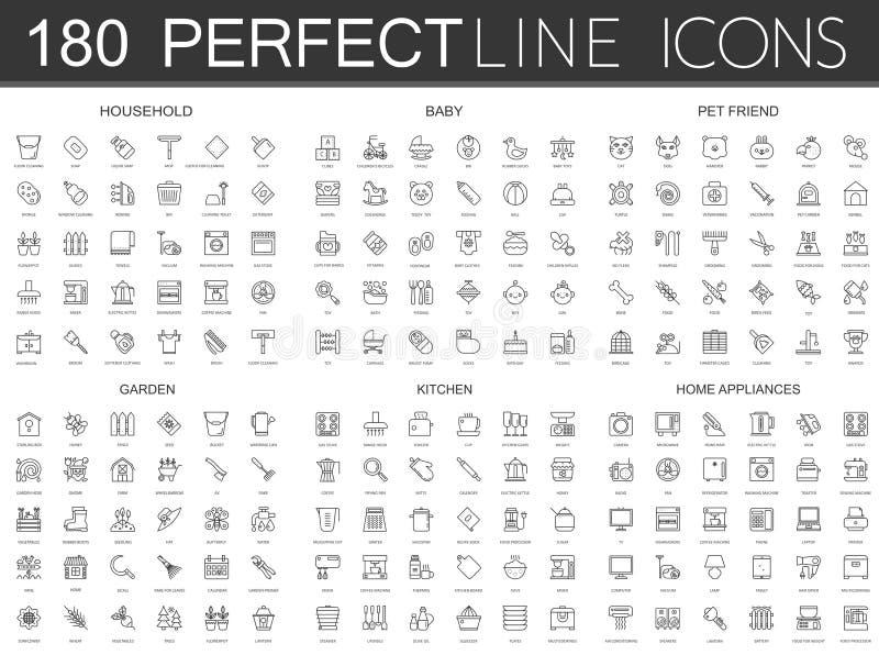 180 la línea fina moderna iconos fijó del hogar, bebé, amigo del animal doméstico, jardín, cocina, aparatos electrodomésticos ilustración del vector