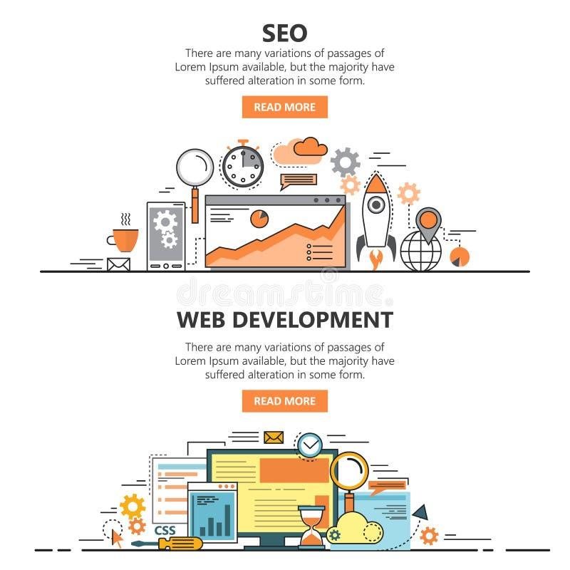 La línea fina plana de la optimización y del desarrollo web del Search Engine diseña banderas Elementos del concepto del vector,  ilustración del vector