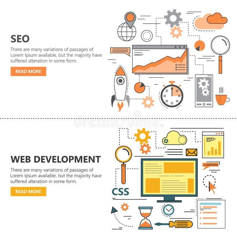 La línea fina plana de la optimización y del desarrollo web del Search Engine diseña banderas Iconos del vector libre illustration