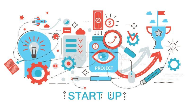 La línea fina plana moderna diseño empieza para arriba y concepto del desarrollo para el sitio web, la presentación, el aviador y stock de ilustración