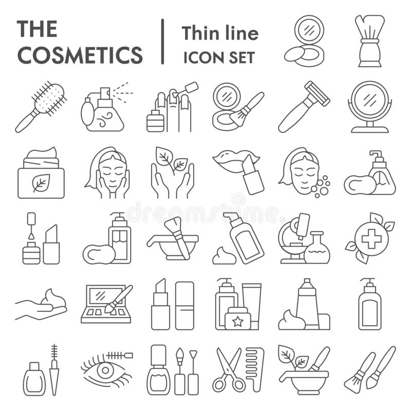 La línea fina sistema del icono, símbolos colección, bosquejos del vector, ejemplos del logotipo, cuidado de los cosméticos del m stock de ilustración