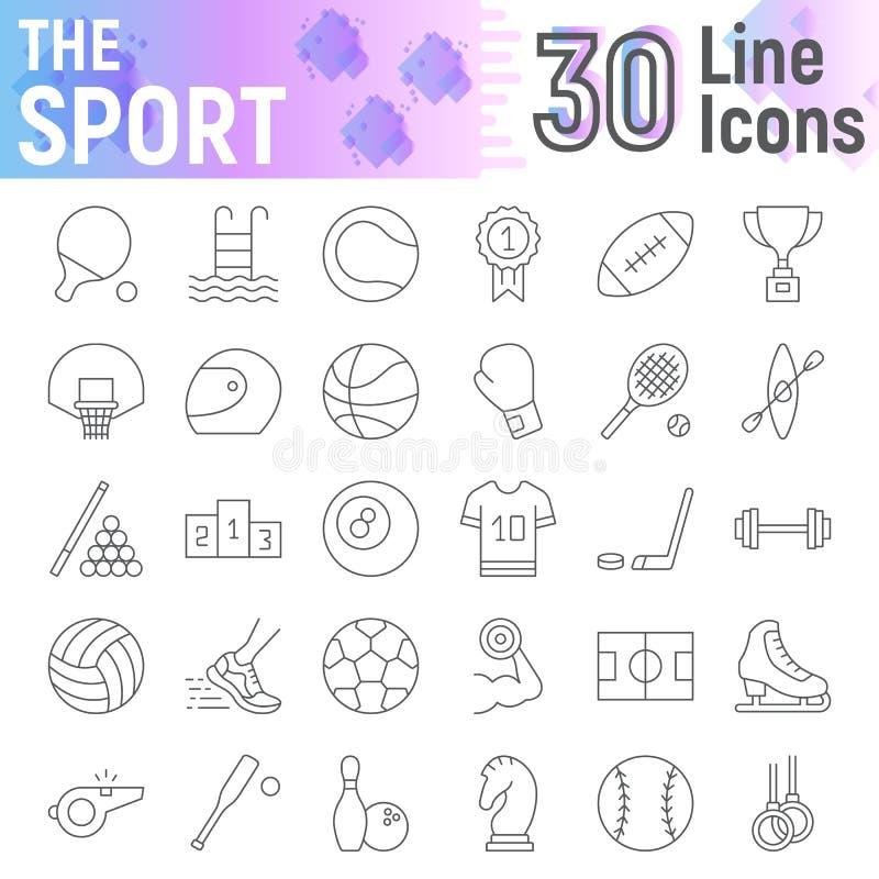 La línea fina sistema del icono, símbolos colección, bosquejos del vector, ejemplos del logotipo, juego del deporte de la aptitud ilustración del vector