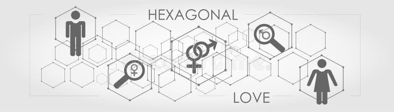 La línea geométrica hexagonal encuentra amor verdadero con el icono fotografía de archivo libre de regalías