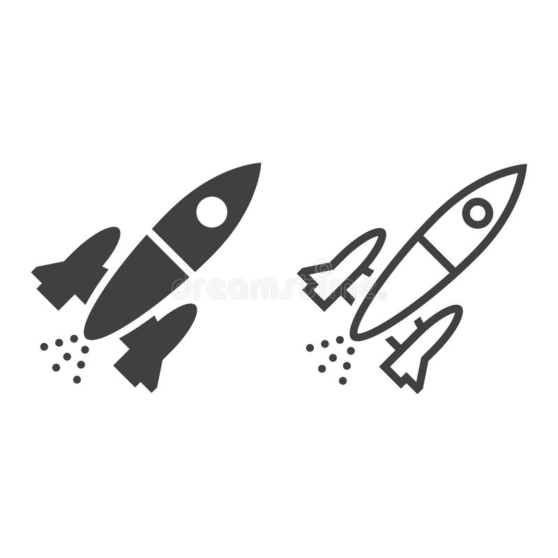 La línea icono de Rocket, el esquema de la nave espacial y el sólido vector la muestra, línea ilustración del vector