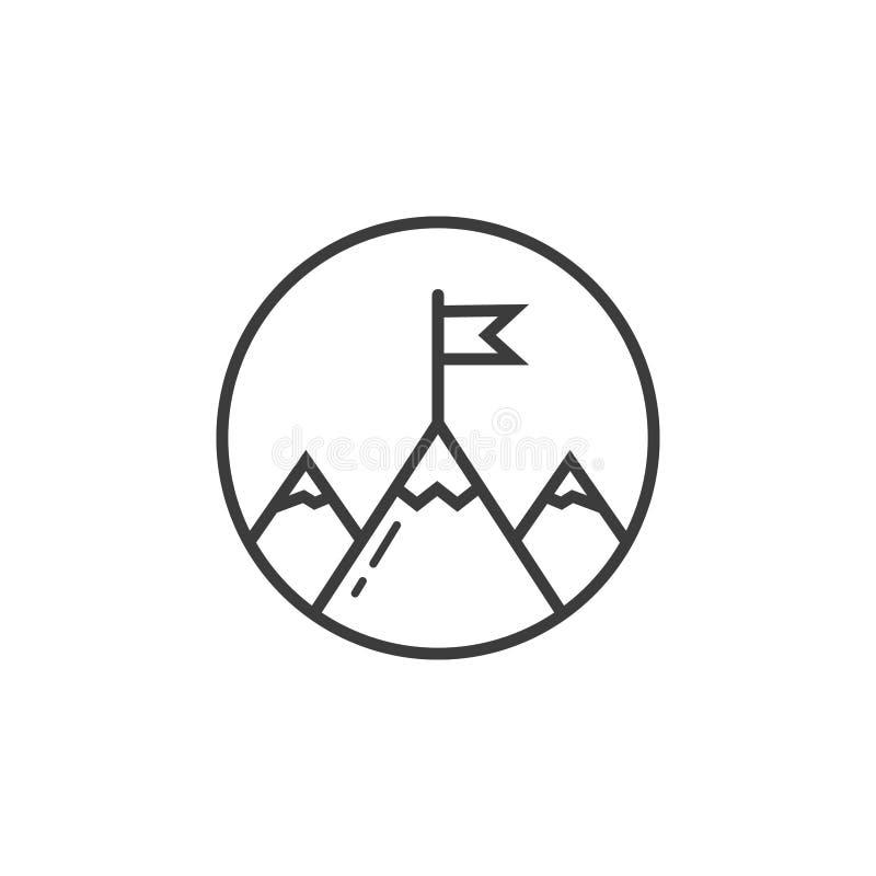 La línea icono del arte de tres montañas mira a escondidas con la bandera en el marco redondo libre illustration