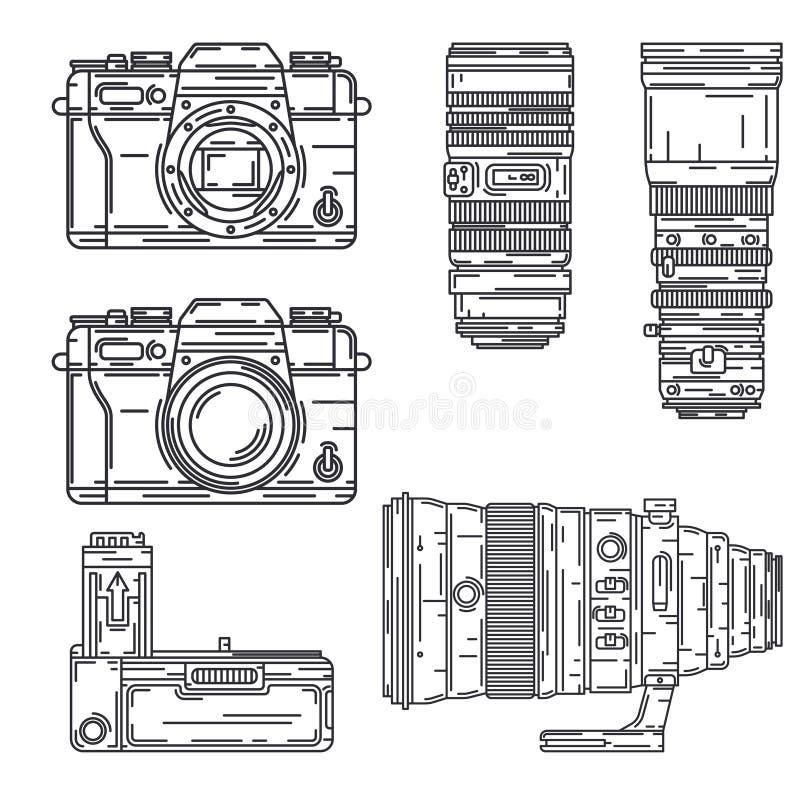 La línea icono del vector fijó el equipo profesional del fotógrafo digital Arte de la fotograf?a Banco fotográfico del poder, vid libre illustration