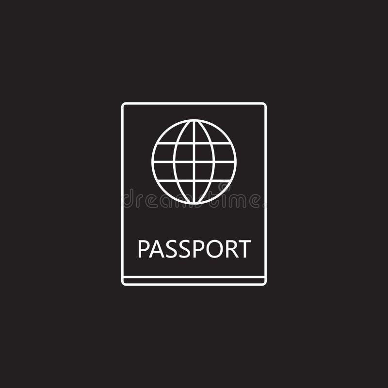 La línea icono, logotipo del vector del paso del esquema, funcionario linear del pasaporte hace stock de ilustración