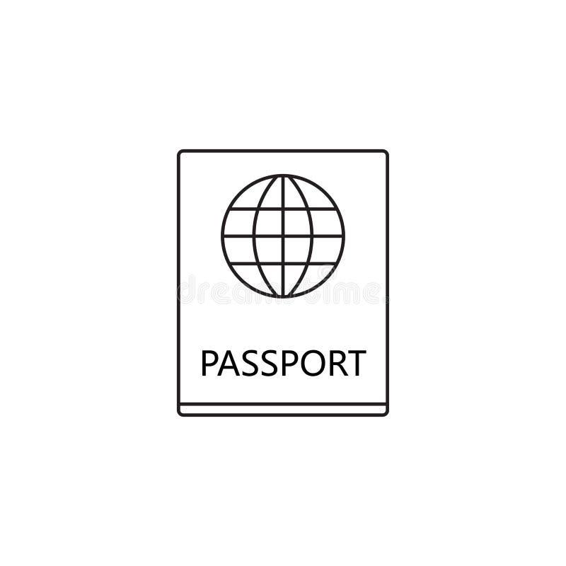 La línea icono, logotipo del vector del paso del esquema, funcionario linear del pasaporte hace ilustración del vector