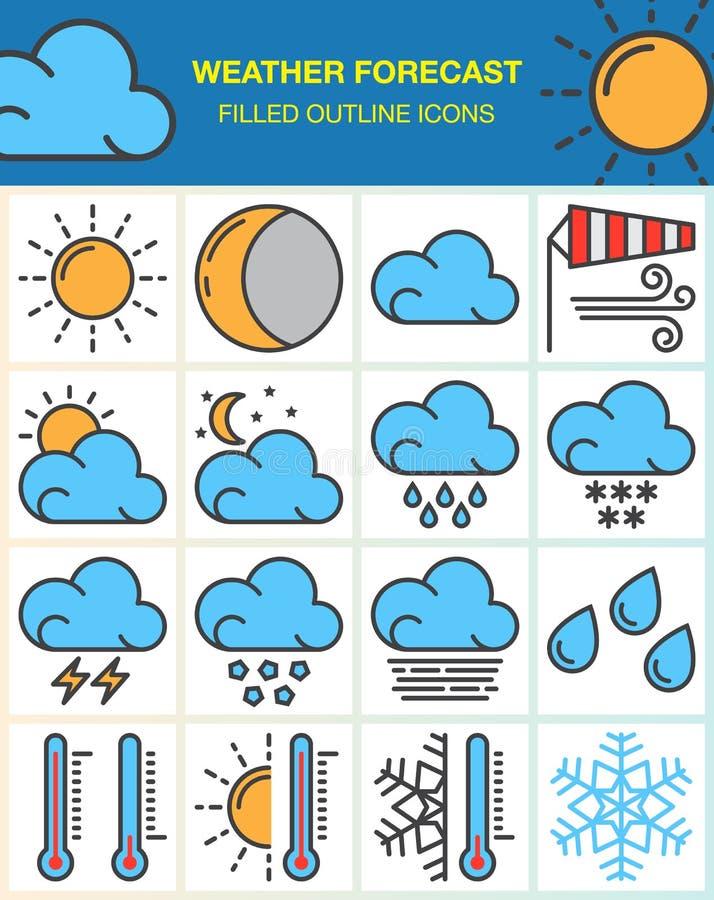 La línea iconos de la previsión metereológica fijó, la colección llenada del símbolo del esquema, paquete colorido linear del pic libre illustration