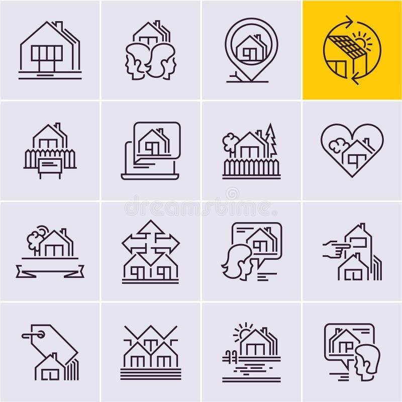 La línea iconos de las propiedades inmobiliarias fijó, contiene el icono stock de ilustración