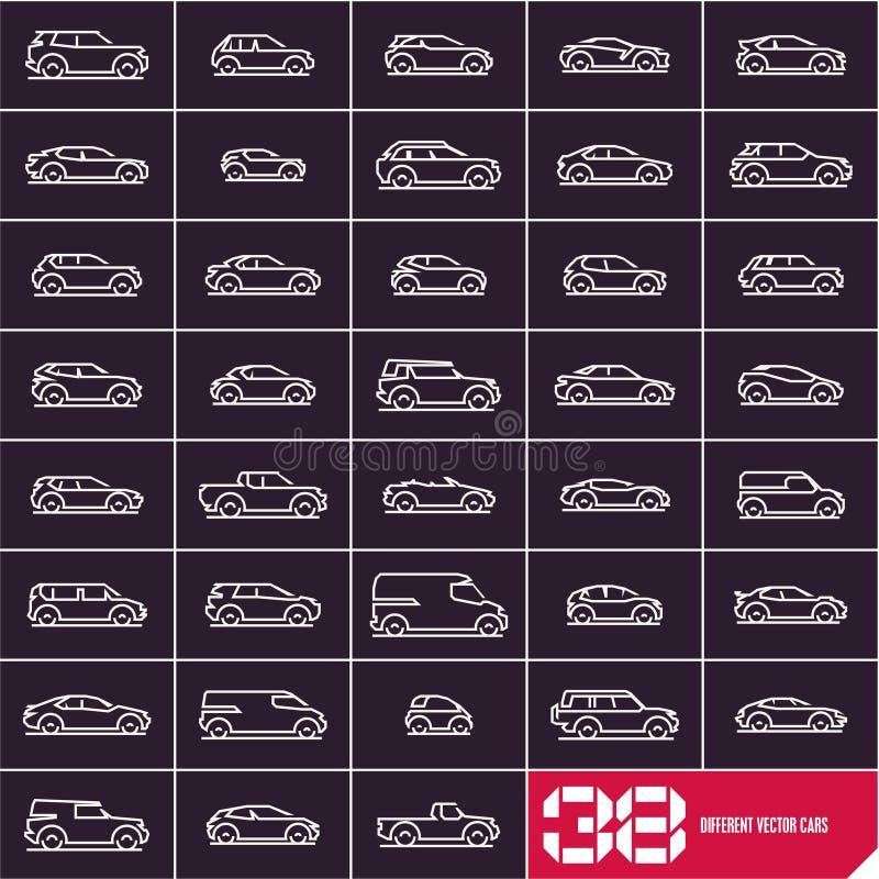 La línea iconos de los coches fijó, diversos tipos siluetas lineares del coche del vector libre illustration