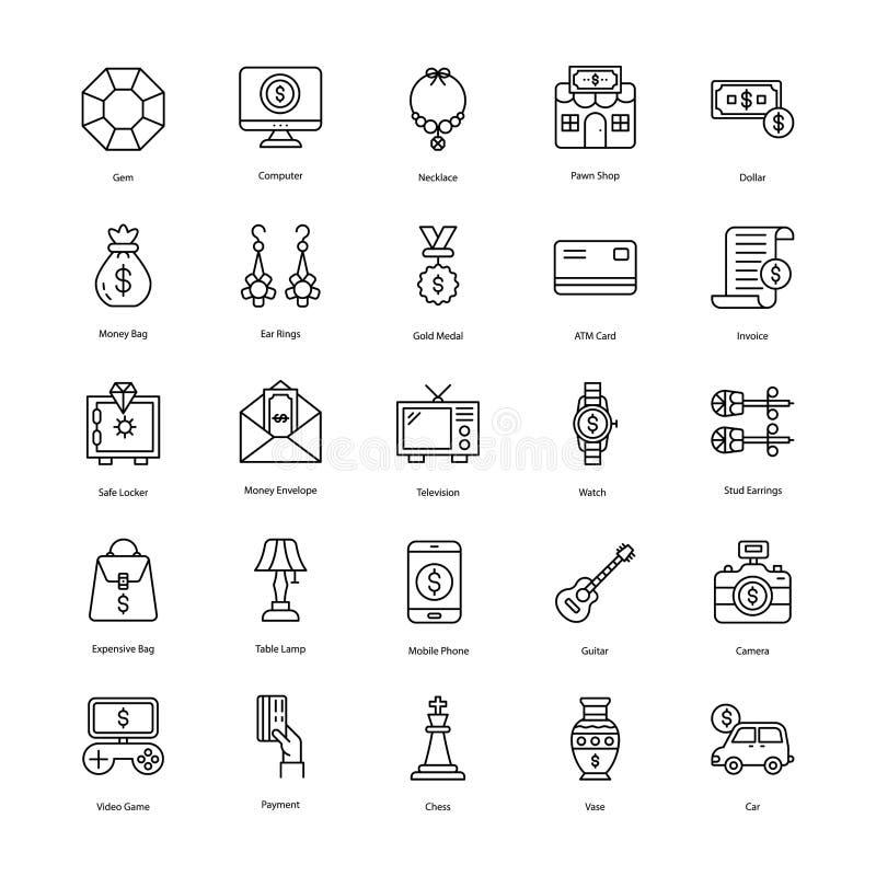 La línea iconos de la tienda de empeño embala stock de ilustración