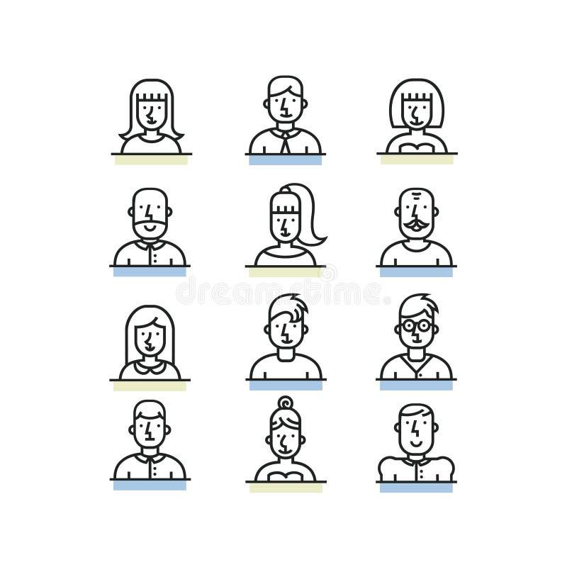 La línea iconos del avatar de la gente del estilo fijó en el fondo blanco stock de ilustración
