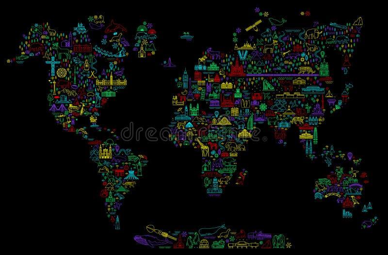 La línea iconos del World Travel traza Cartel del viaje con los animales y las atracciones de visita turístico de excursión Ejemp libre illustration
