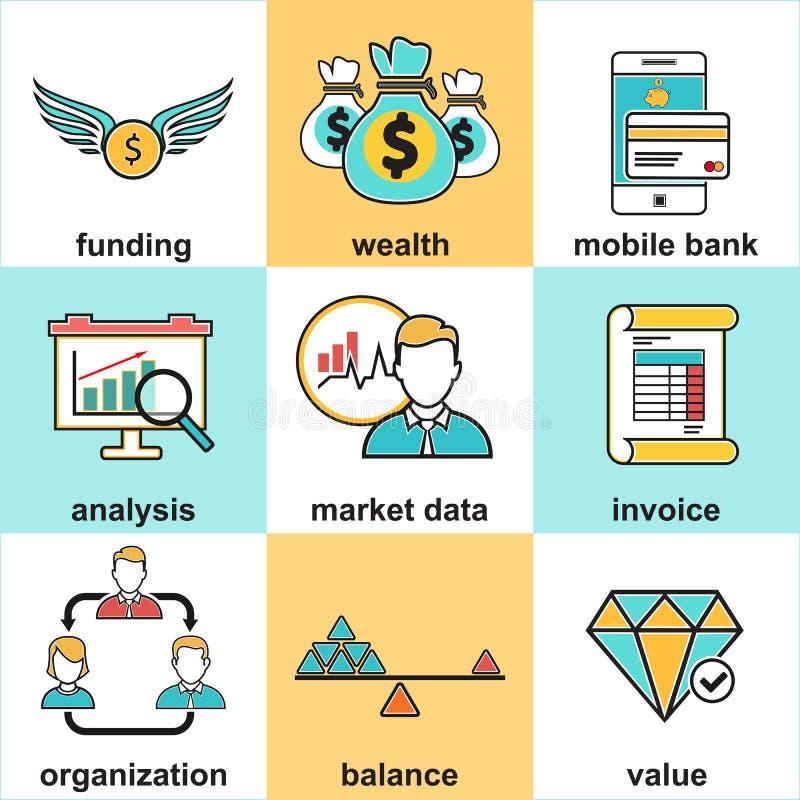 La línea iconos fijó con los elementos planos del diseño de la inversión financiera libre illustration