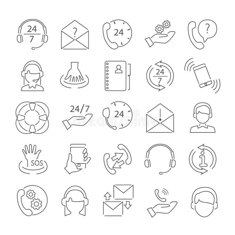 La línea iconos finos de la ayuda y del centro de atención telefónica fijó para el web y el diseño móvil ilustración del vector