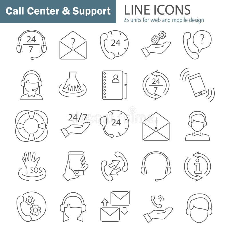 La línea iconos finos de la ayuda y del centro de atención telefónica fijó para el web y el diseño móvil stock de ilustración